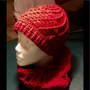 Handmade Red Hat and Cowl Set